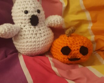 Ghost and pumpkin (sold together and separately)