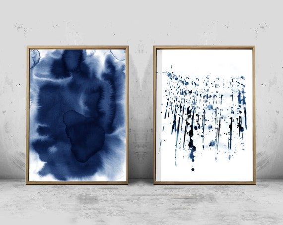 Abstract watercolor prints set indigo blue pink minimal