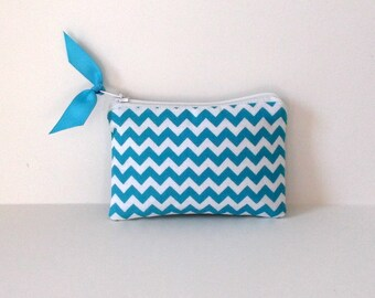 Zipper Coin Purse, Business card holder,small purse, Turquoise chevron Ships ASAP