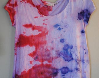 Ice Dyed Petal Pink & Purple Cotton Top