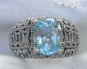 SALE, Sz 7-Large, Natural Blue Topez Ring, Antiqued Sterling Silver, Vintage Jewelry, Filigree Silver Band, Swiss Blue Topaz
