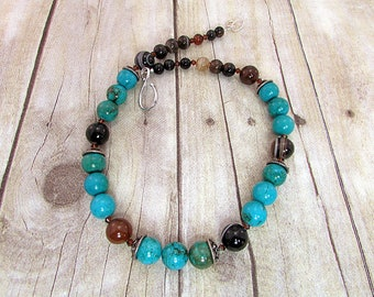 Rustic Turquoise and Agate Necklace