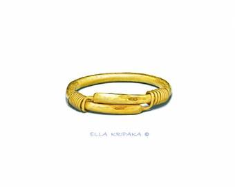 Solid 22k Gold 170g Width 14mm Shiny Sizable Fine Gold Bracelet Boho Bangle Ancient Rome Hammered Women Men by Ella Kripaka