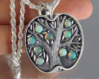 APPLE TREE silver pendant with Opals - Ready to ship
