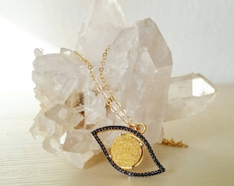 Evil Eye Drusy Necklace. Good omen. Judaism. Gift. Unique. Charm necklace. Gold evil eye. Gold druzy. Black onyx. Jewish. Protection