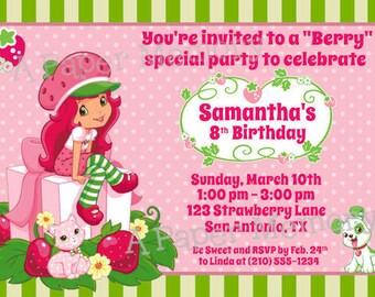 Strawberry Shortcake Birthday Baby Shower DIY Printable Invitation