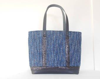 Ana Tweed Tote blue and black