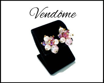 VENDOME Pink Aurora Borealis Crystal, Rhinestone & Pink Pearl Earrings, Lampwork Beads, Bridal Earrings Bridesmaid, Graduation Gift for Her