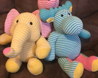 Baby Memory Animals for Keepsake made from children's clothing