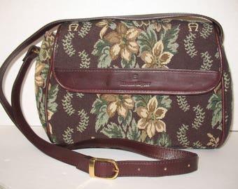 Etienne Aigner Floral Tapestry Leather Trim Crossbody Shoulder Bag