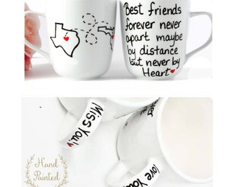 Best Friend Mug- Long Distance Gift- Best Friends Forever Never Apart Coffee Mug- Best Friends Birthday Gift- Large 16 oz Coffee Mug