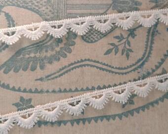 "Vintage Ivory Sewing Lace - Scalloped Beige Lace Trim + Yardage, Crafting Supply Seamstress Destash, Old Lace Yardage Supply, 608"" Long Lace"
