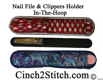 Salon Nail File & Clippers Holder - In The Hoop - Machine Embroidery Design Download (5x7 Hoop)
