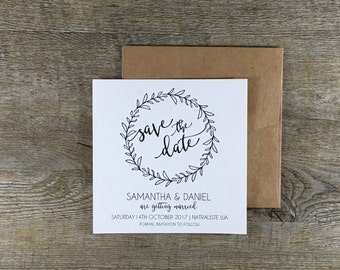Save the Date | The Naturaliste | Vine Black and White Rustic Wedding Invitations