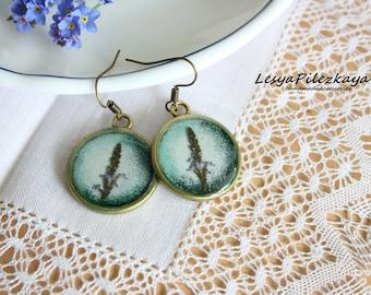 Real herbal earrings - nature jewelry - green jewelry