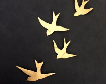 We fly together Gold porcelain wall art swallows Modern ceramic gold bird wall sculpture Bathroom art gift Swallow family READY TO SHIP