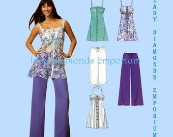 New Look 6683 Womens Halter Tops Mini Dress Pull-on Wide Leg Pants Capris size 10 12 14 16 18 20 22 Summer Plus Size Sewing Pattern Uncut FF