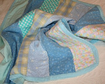 Recycled Flannel Baby Blanket Quilt Blue