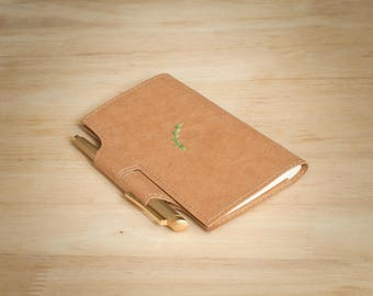 Vegan leather/ Embroidery/ Handmade Checkbook Cover with pen holder/ duplicate checks/ sylvaan/ gift for him or her