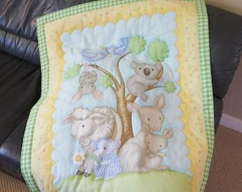 Animals Baby Quilt, Baby Animal Quilt, Gender Neutral Baby Blanket
