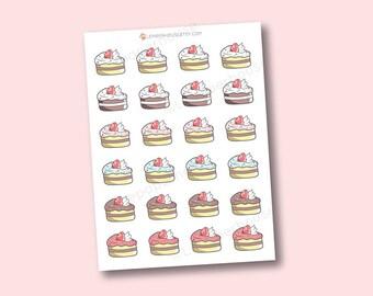 Gâteau de kawaii autocollants - autocollants Agenda mignon, Erin Condren autocollants, agendas, cuisson