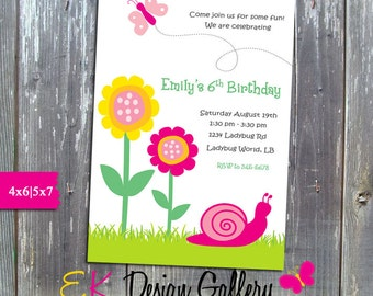 Spring Birthday Invitation, Butterfly Birthday Party Invite, Spring Flower Invitation, Personalized Invite, Printable Invitation, DIY