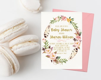 Bohemian Baby Shower Invitation Printable Boho Floral Wreath Baby Shower Invite Blush Floral Baby Shower Invite Girl Baby Shower Gold 265