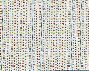 Scoot by Riley Blake Designs,100% Cotton Fabric by the Yard, Quilt Fabric, Apparel Fabric, Home Decor, Crafts, Blue, Green, Red on Off White