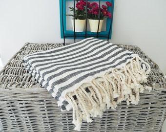 Black Stripe Turkish Towel,Black Cotton Towel,Black Towel,Black Striped Peshtemal,Black Stireped Beach Towel,Bath Towel,thick cotton towel,