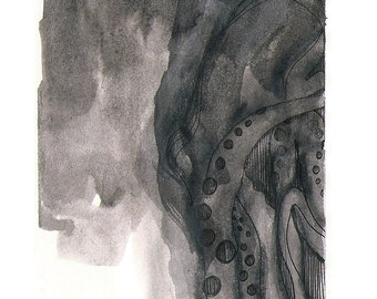 """Octopus Painting - Signal to Noisetopus - Fine Art Giclee Print 7/50 of 4""""x6"""" Black and White Painting"""