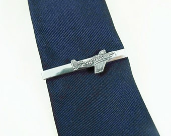 Tie Bar Tie Clip, Mens Silver Historical P 51 Mustang Mens Accessories  Handmade