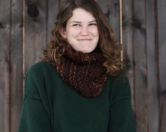 Hand Knit Infinity Scarf // Wool Scarf // Chunky Knit Scarf: Sequoia
