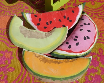 """Melon pillow WATERMELON, CANTALOUPE or HONEYDEW silhouette hand painted 8.5"""" x 19"""" indoor outdoor beach picnic Crabby Chris™ Original"""