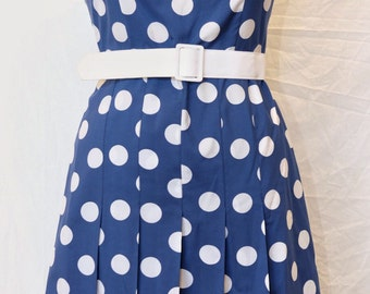 Vintage 60's blue and white polka dot day dress - dominex