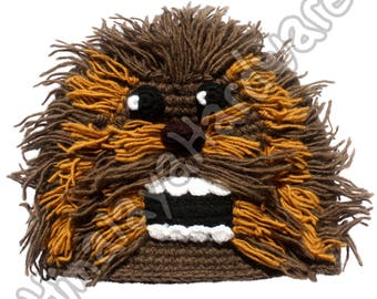 Crochet Wool Chewbacca Hat: beanie monster face star wars knit