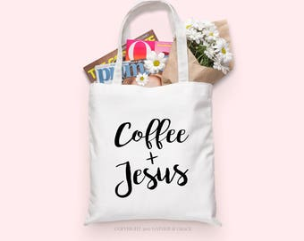 Coffee and Jesus Tote bag | Coffee and Jesus | Coffee | Jesus | Coffee Lover's Gift | Christian Gift | Caffeine | Caffeine Queen | Tote bag