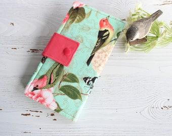 Womens wallet in Birds and floral mint print, Bifold womans wallet, credit card wallet, handmade wallet, checkbook wallet, slim wallet