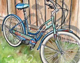 Blue Schwinn Bicycle Watercolor Painting // Women's Bike Art Print // Artwork // Bicycle Enthusiast Gift