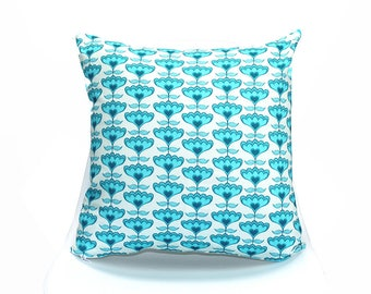 18x18 Throw Pillow Cover Flowers - Our Original Design & Cute! Pillow Case, Home Decor, Accent, Decorative.  Made in USA. ON SALE!