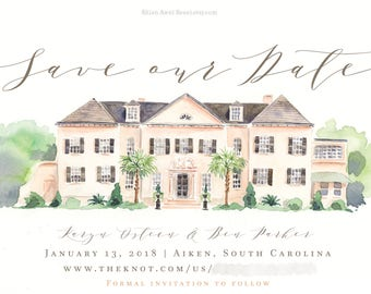 Wedding Venue Illustration - Custom House Portrait, Watercolor Save the Date Card , Invite, Engagement Announcement, Painting - by Reani