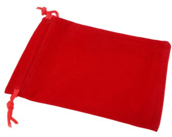 Wholesale Lot of 12 Red Color Soft Velvet Pouches with Drawstrings for Gift Packaging, 6 Size availables