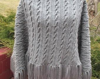 Crocheted Grey / Gray / Poncho / Shawl / Cape / Slant Stitch