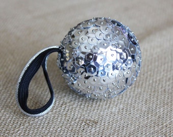 Silver Sequin Ornament - Small, Sequin Christmas Decoration, Modern Ornament for Christmas Tree