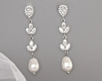 Bridal Earrings, Crystal Wedding Earrings, CLIP On Earrings Option, Crystal Earrings, Pearl Dangle Earrings, Bridal Jewelry,  HAYLEY TD