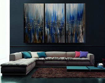"CONTEMPORARY Art Painting, Blue Modern Art, Fine Art Decor, Blue Home Decor, Contemporary Office Wall Hangings, 72"" Large Painting Nandita"