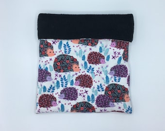 Flannel Sleep Sack, Cuddle Sack, Flower Hedge Hedgehogs on White, for Hedgehog, Sugar Glider, Guinea Pig, Rats, and other Small Animals