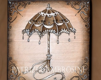Handpainted art block on wood - Parasol - ORIGINAL Painting collectible romantic victorian