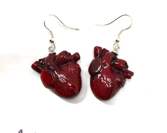 Anatomical Heart Earrings, resin, vampire, anatomical heart, earrings, halloween, silver, gothic, witchcraft, heart, red, blood, medical