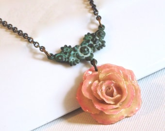 Real Rose Necklace -  Cream and Pink Rose,  Flower Jewelry, Natural Preserved, Nature Jewelry, Botanical Jewelry
