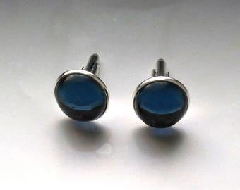 Silver Plated Montana Blue Swarovski Glass Cufflinks, Father's Day, Men accessory - Men in Black Gorgeous Cufflinks by enchantedbeas on Etsy
